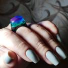 GREEN WOOD Деревянное кольцо Aurora Borealis (автор - Murka_vk_nails)
