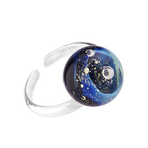Glass Art Studio Кольцо лэмпворк Галактика синее