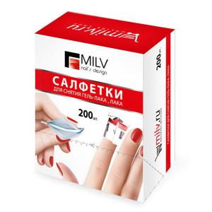MILV Nail & Gel Polish Removing Wipes 200 pcs