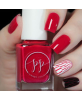 Painted Polish Stamped in Crimson