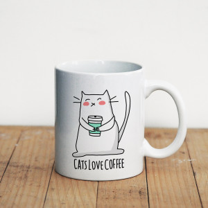 Просто Мыколка Кружка Cats love coffee