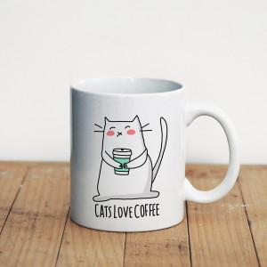 Просто Мыколка Кружка Cats love coffee