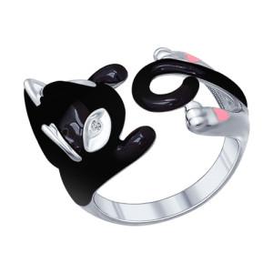 SOKOLOV Кольцо в виде черной кошки из серебра